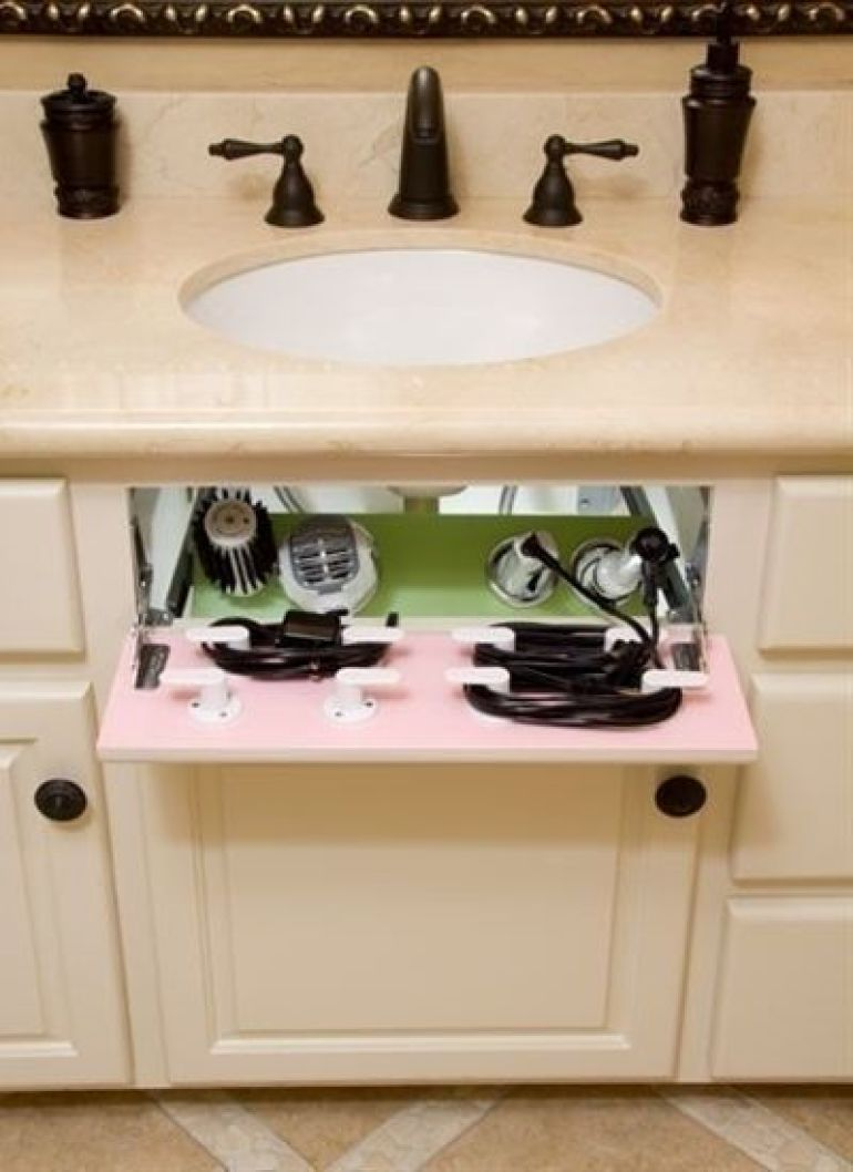 Turn the fake drawer in your cabinet into a hair dryer/straight iron storage space. Turn the fake drawer in your cabinet into a hair dryer/straight iron ... & 30 Best Bathroom Storage Ideas to Save Space   Bathroom storage ...