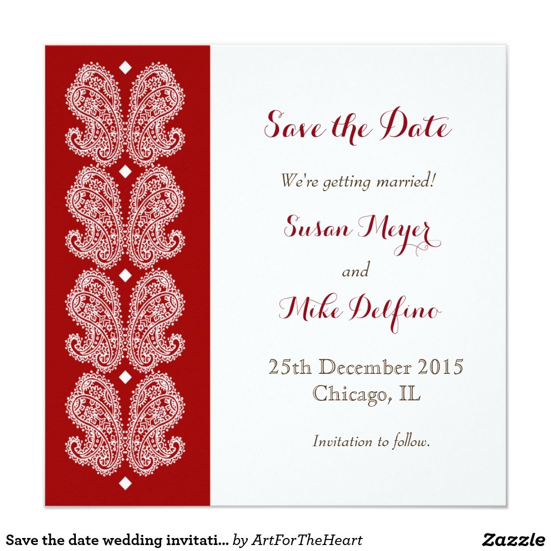 Save the date wedding invitation card paisley red | Save the date ...