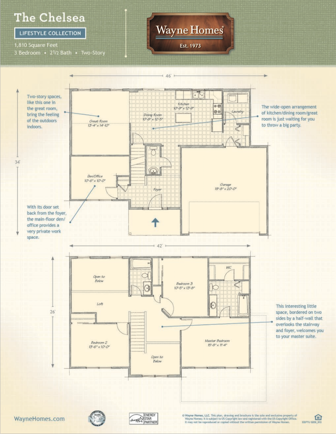marvelous wayne homes house plans #2: Craftsman Style Custom Homes Floor Plans: The Chelsea