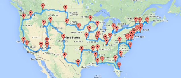 The Ten Best Routes For Driving Across America Road Trip Map Road Trip Across America Drive Across America