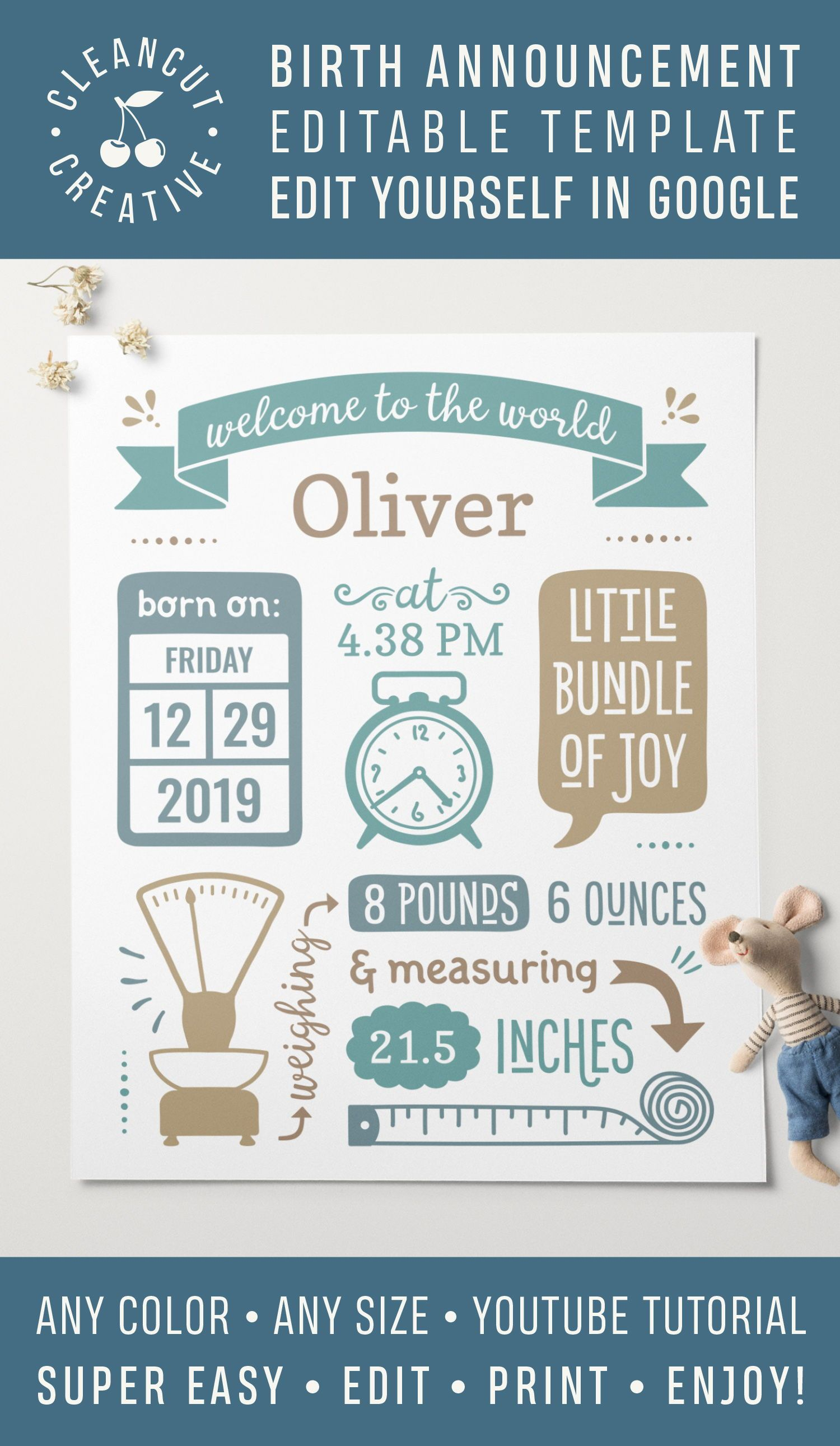 Birth Announcement Template For Google Baby Birth Stats Printable Editable Instant Digital Download Wall Art Poster Personalized Pdf Print Birth Announcement Template Baby Stats Birth Announcement