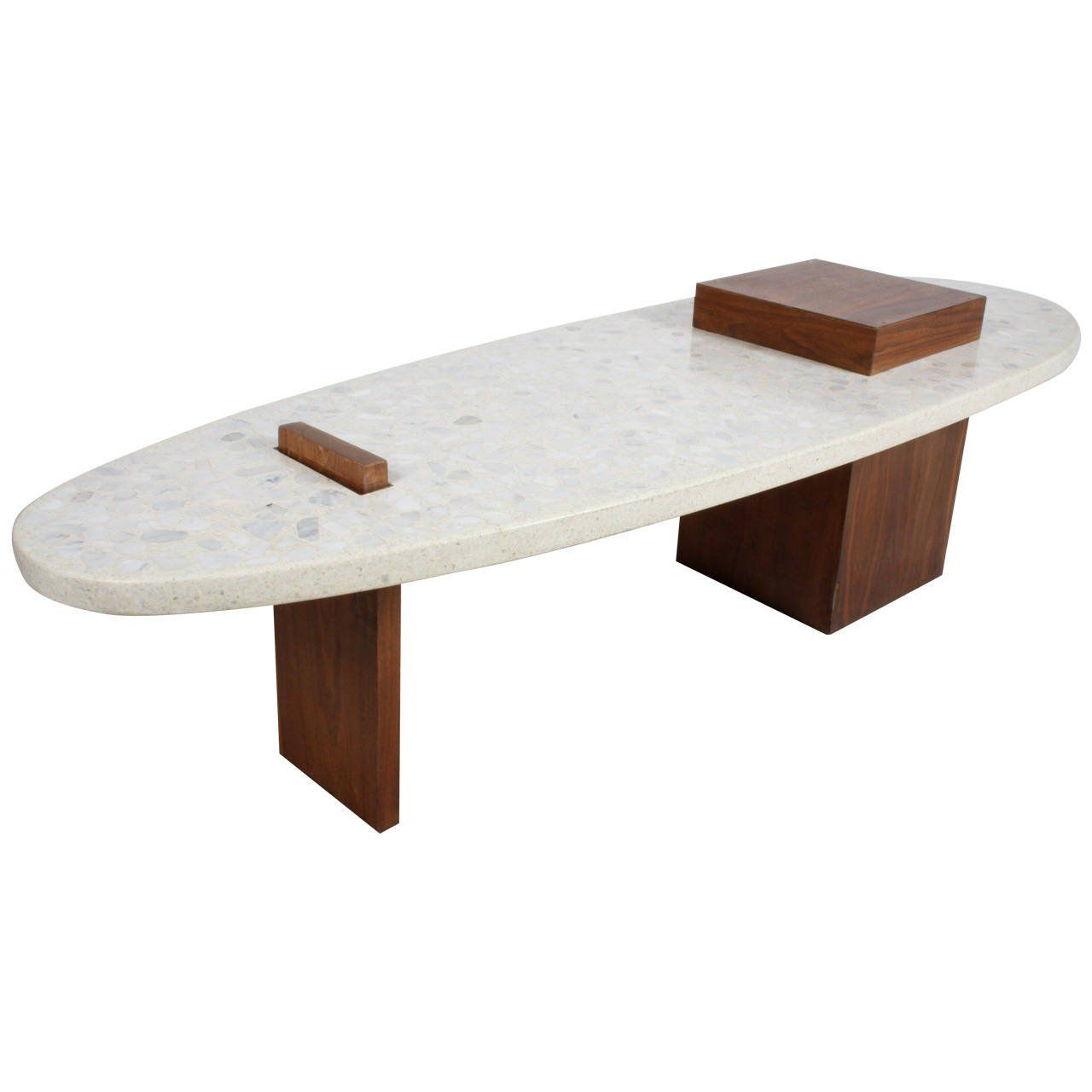 Harvey Probber Style Terrazzo And Walnut Coffee Table From A Unique Collection Of Antique Modern Tail Tables At