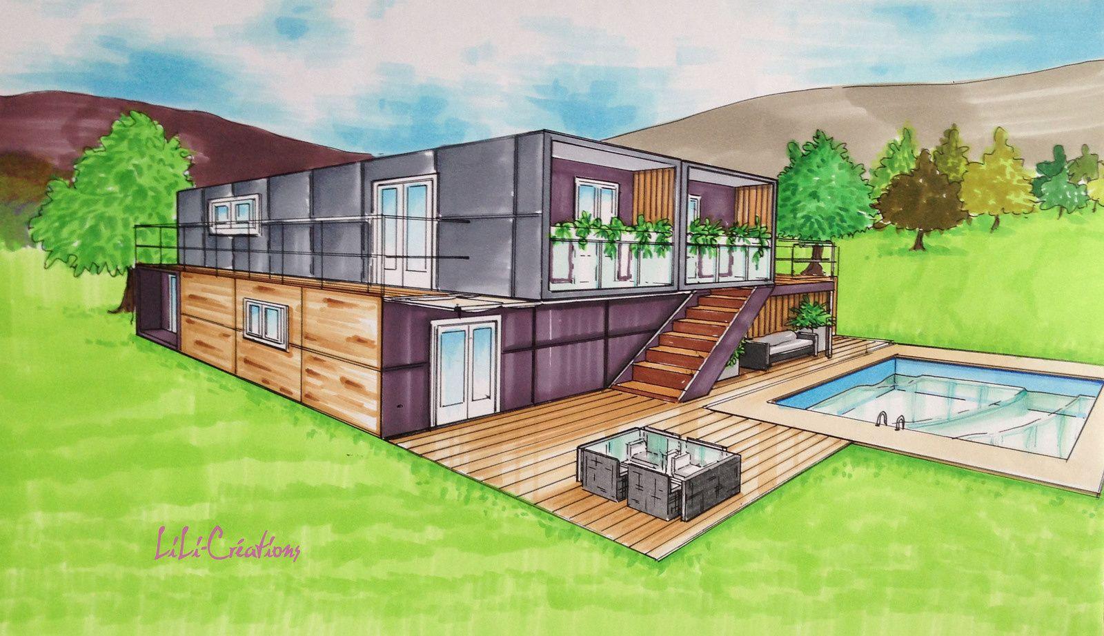 Faire Construire Une Maison Container maison container ardoise   maison dessin, dessin architecte