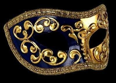 Mezza Masquerade Mask - Blue  Fantastic half blue / half gold base with gold…