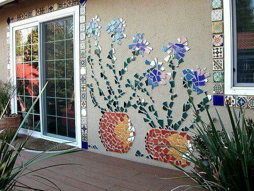 Mosaic Mural Made From Broken Tiles Or Dishes Mosaic
