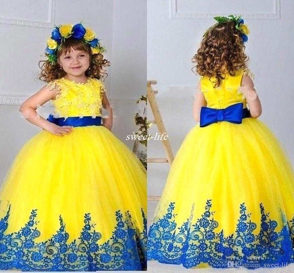 Yellow Girls Pageant Dresses Gowns Appliques Sash Bow Ball Gown Flower Girl…