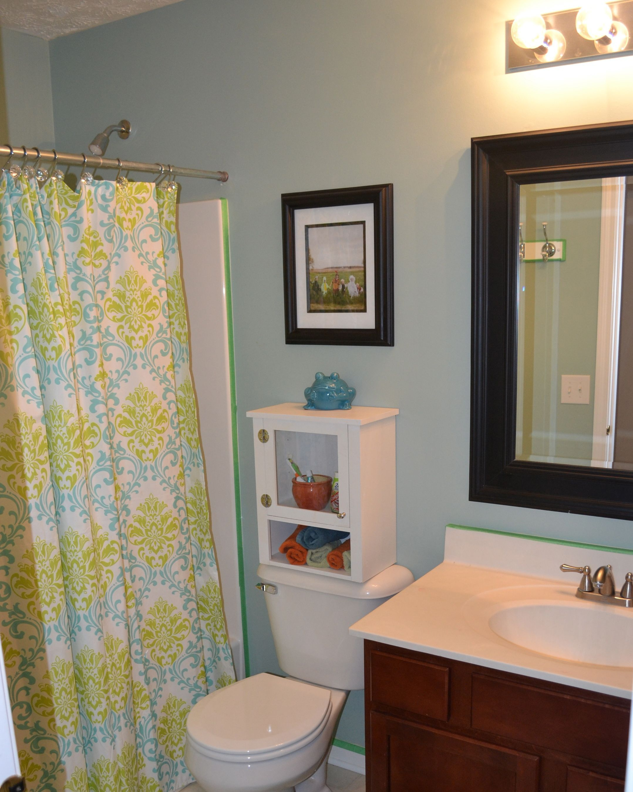 Small Bathroom Mirror Ideas With Modern Blue White Kids Bathroom Shower Curtain Wall Mirror Sink Closet Cabinet Design