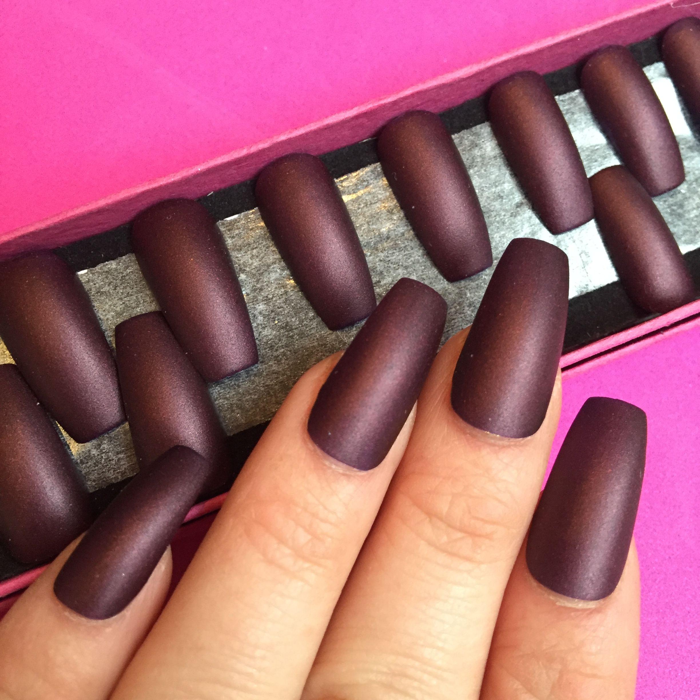 Dark Matte Red Long Coffin Nails | Manicures | Pinterest | Coffin ...