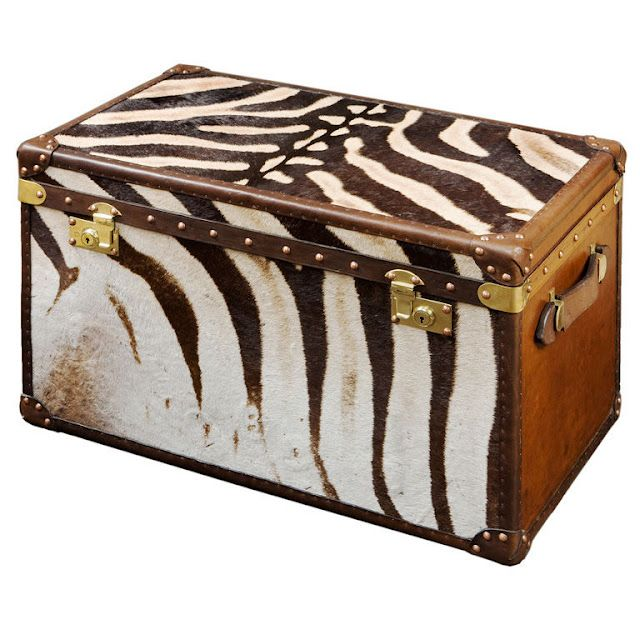 Luggage Style Furniture: Zebra Skin Covered Trunk From England. 20th C.