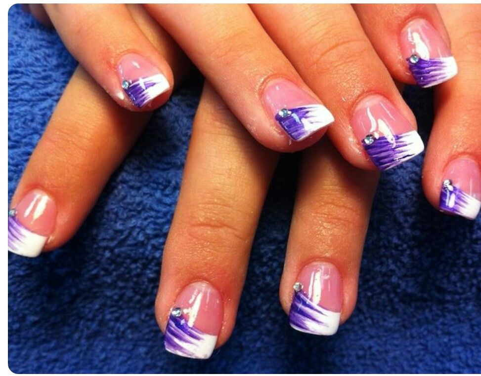 Purple and white french nails | Acrylic nails and make up ideas/hair ...