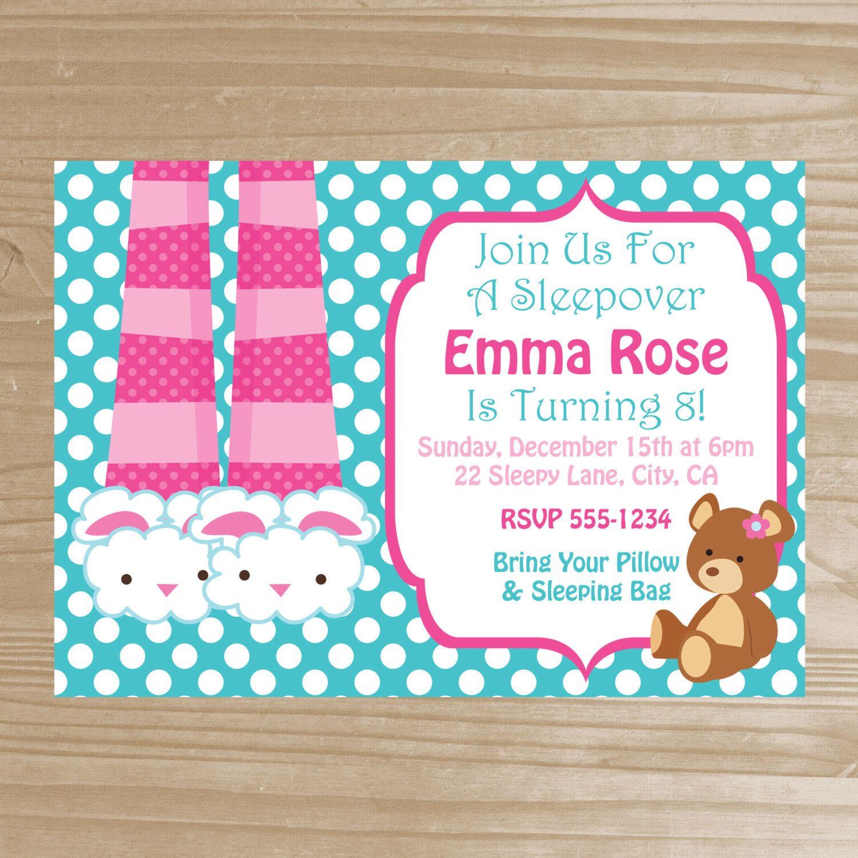 Sleepover Invitation - Printable Slumber Party Invitation - Pajama ...