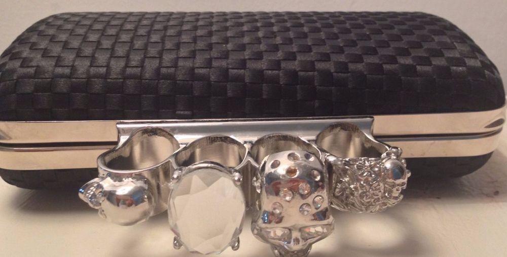 Black Knucklebox Clutch Skull Knuckle Ring Evening Bag Hardcase Handbag