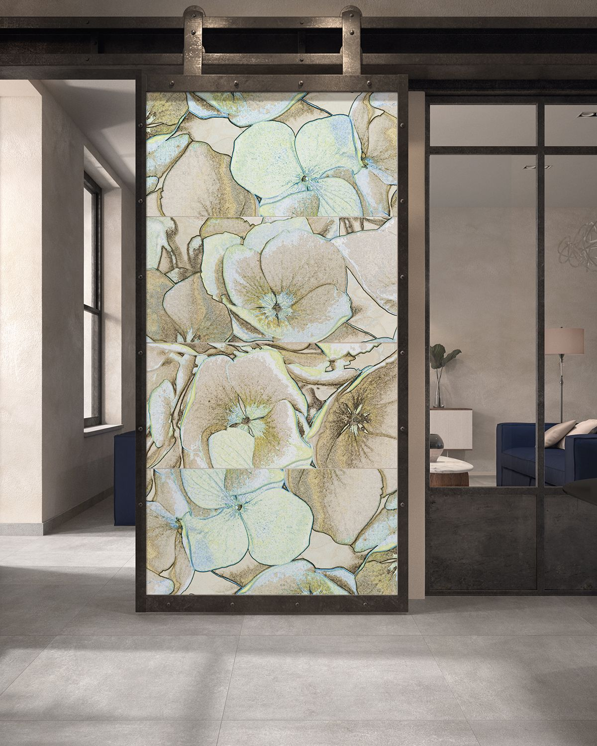 floral wall tile mural on a sliding