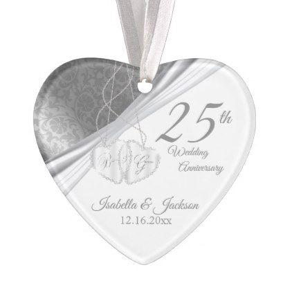 Elegant design 25th silver wedding anniversary ornament elegant design 25th silver wedding anniversary ornament marriage gifts diy ideas custom negle Choice Image