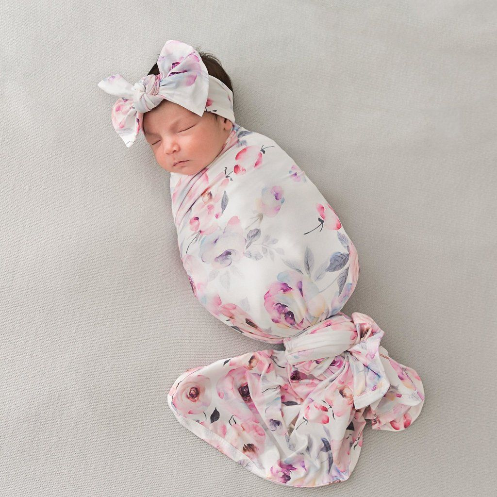 Photo of Winter Rose Swaddle & Headband Set
