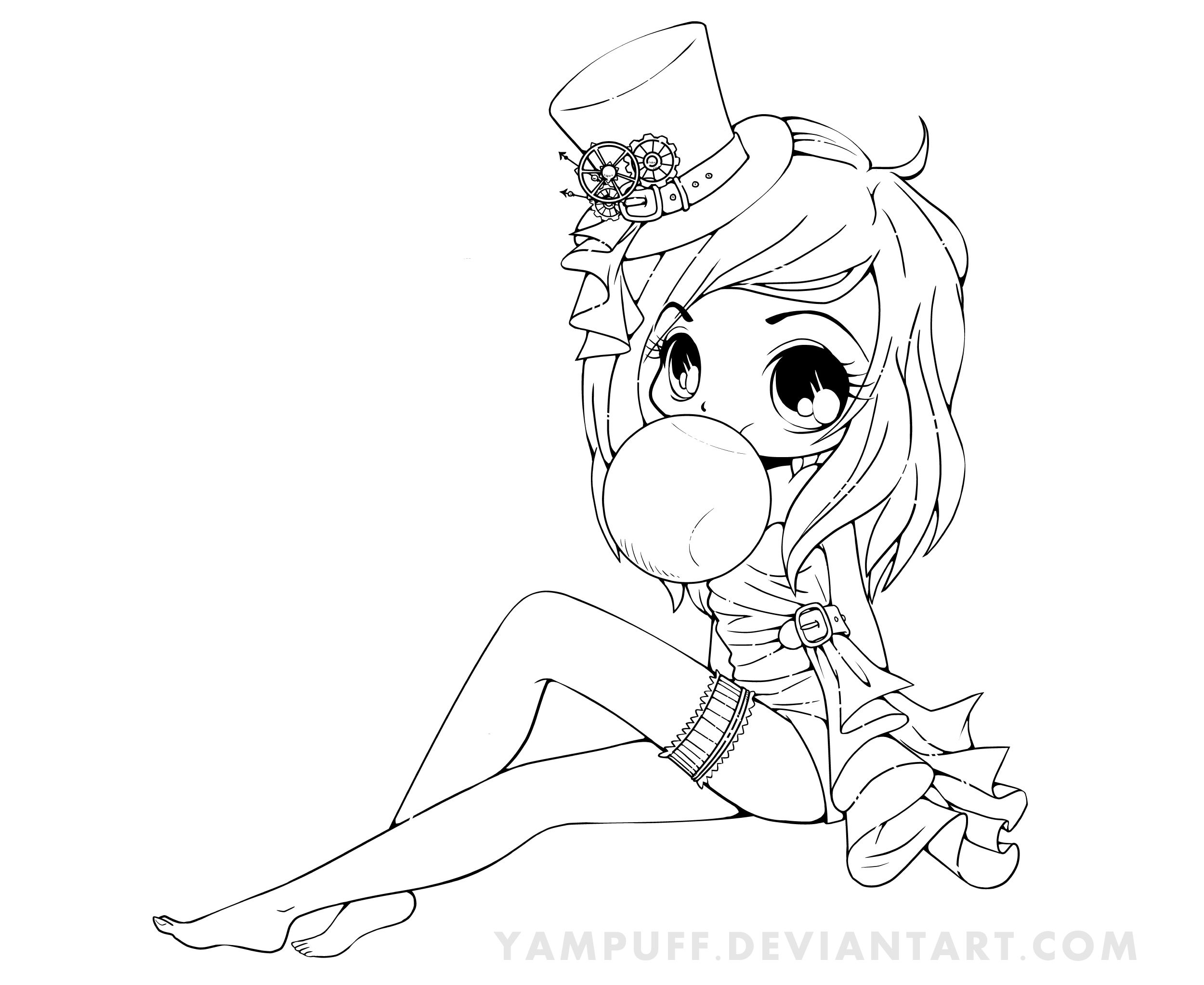 Chibi Girl Bubble Gum Chibi Coloring Pages Steampunk Coloring Colorful Drawings