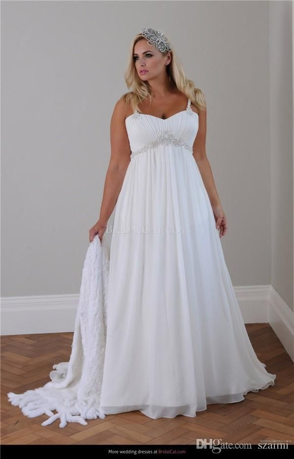 Beach Style Plus Size Wedding Dresses 2015 New Sweeheart Neckline Spaghetti Straps Ruc Casual Beach Wedding Dress Pregnant Wedding Dress Maternity Bridal Dress