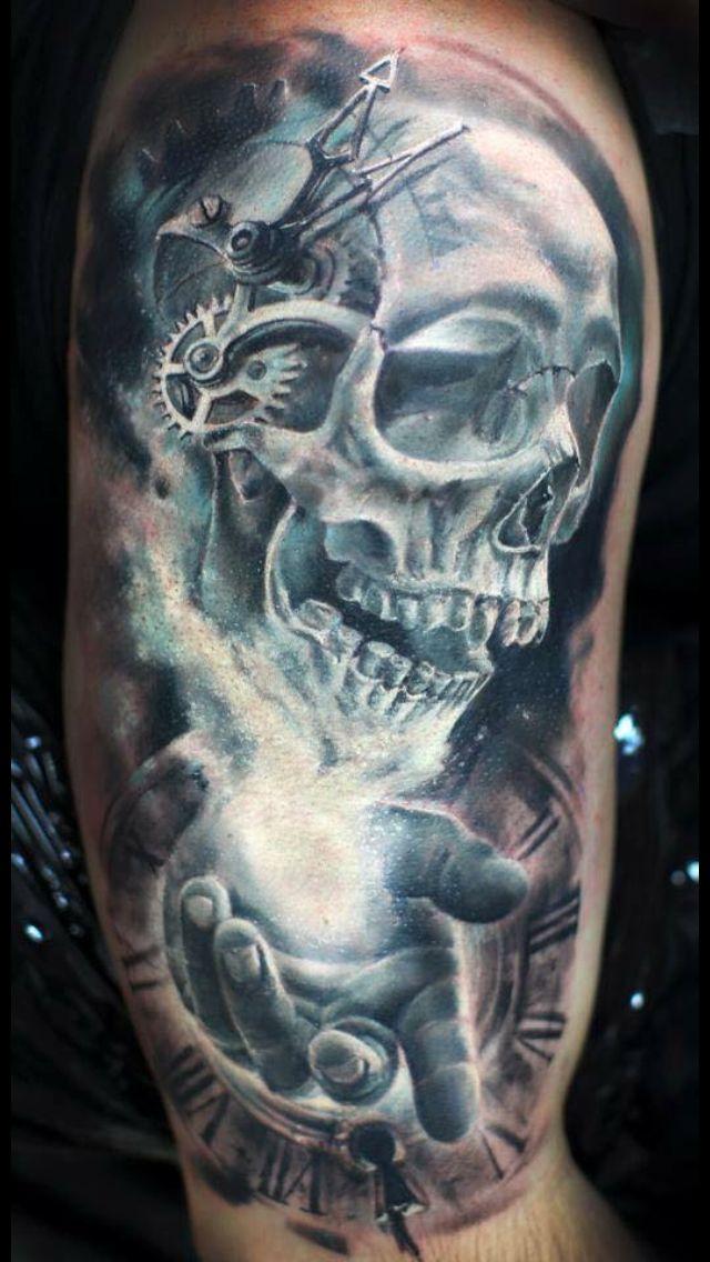 Totenkopf arm männer tattoos Totenkopf Dolch
