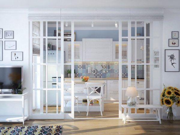 Separate offene Küche vom Wohnzimmer: Trennwände im industriellen Look #neuesdekor