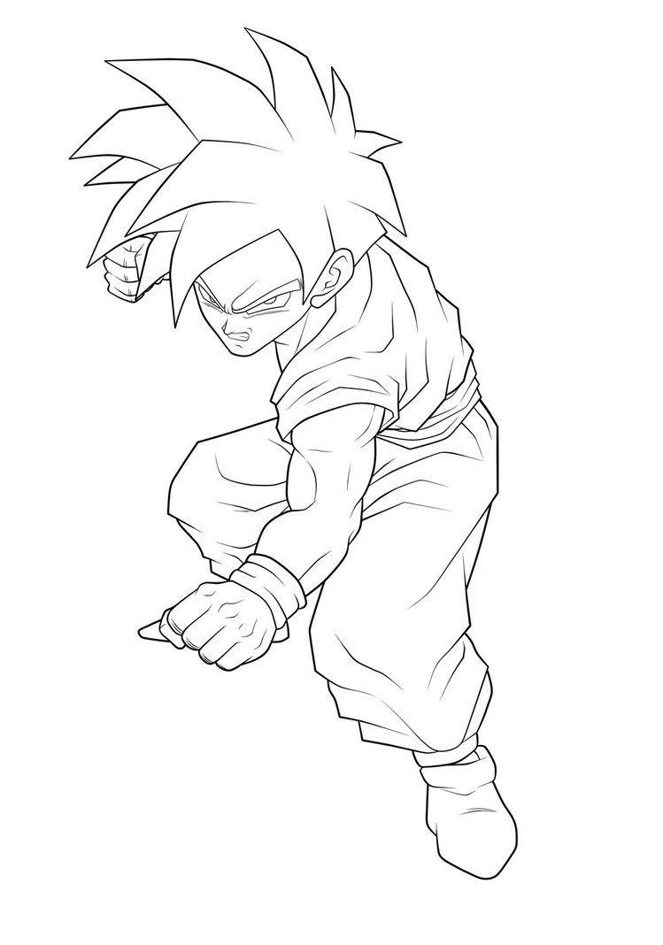 Super Saiyan Gohan Lineart By Moxie2d Dbz Art Dragon Ball