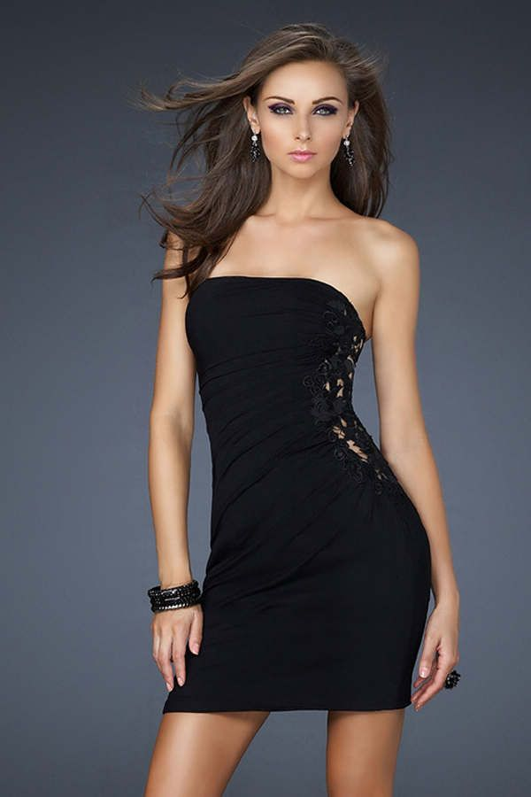 La Femme 17075 Black Strapless Short Dress For Homecoming My Style