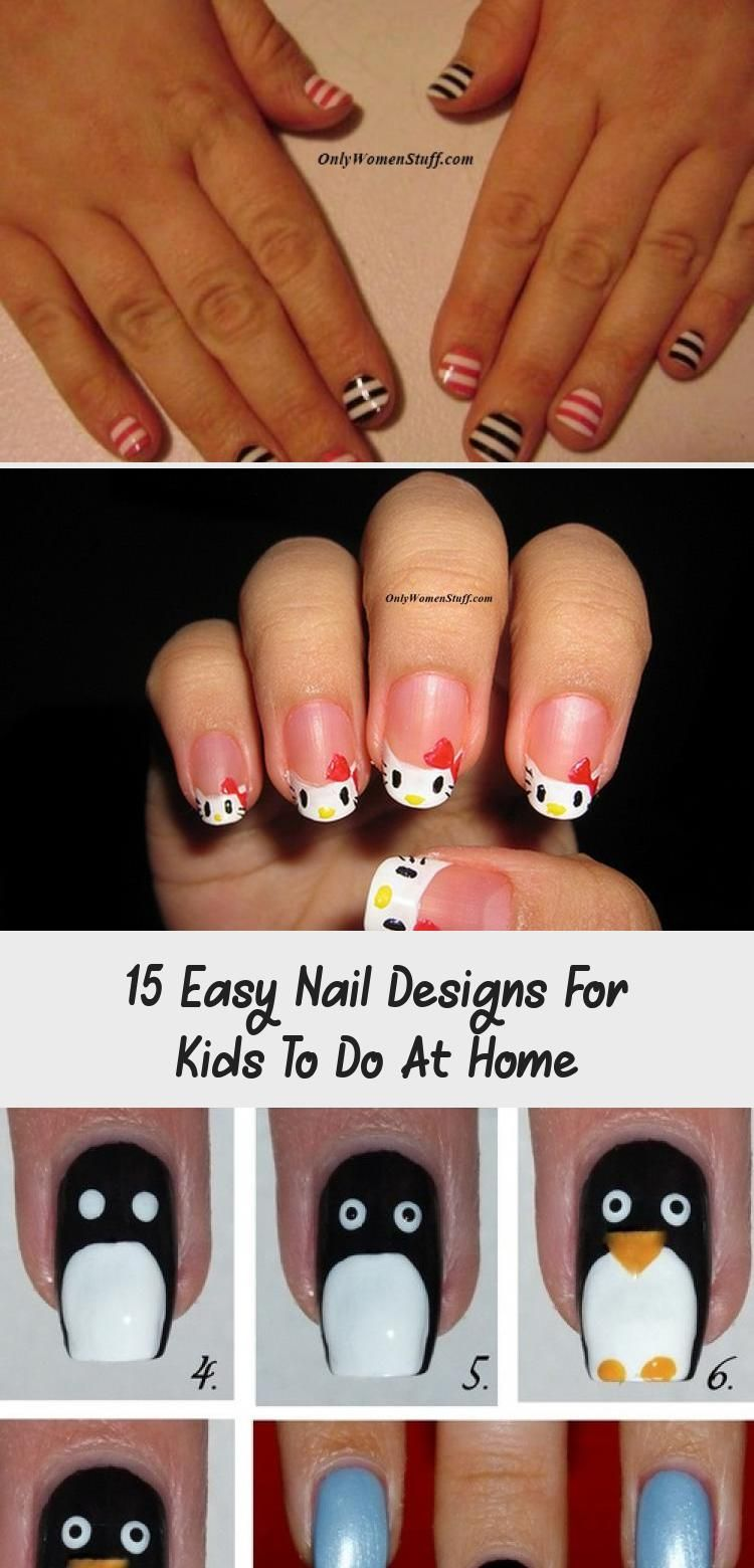 15 Easy Nail Designs For Kids To Do At Home Nail Desing Kids Nail Designs Simple Nails Simple Nail Designs