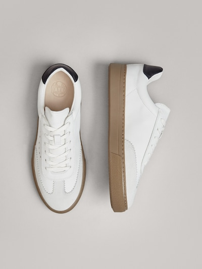 WHITE LEATHER TRAINERS WITH BLACK HEEL