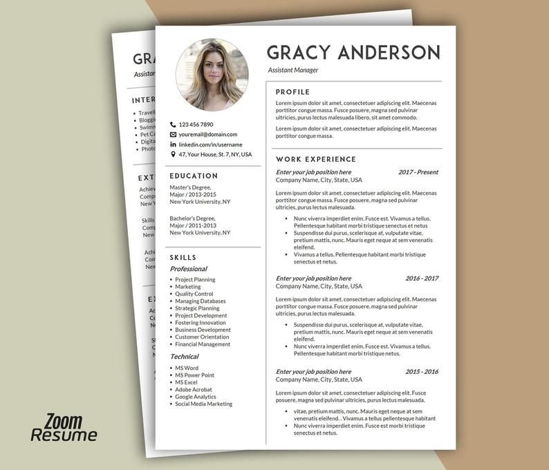 Resume Template With Photo Professional Resume Template Etsy Resume Template Word Modern Resume Template Resume Template Professional