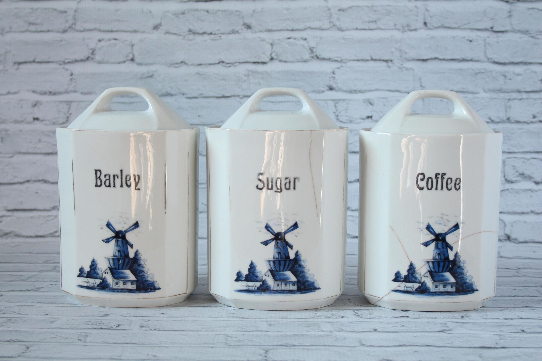 Vintage Coffee Sugar & Barley German Set of 3 Kitchen Canisters ...