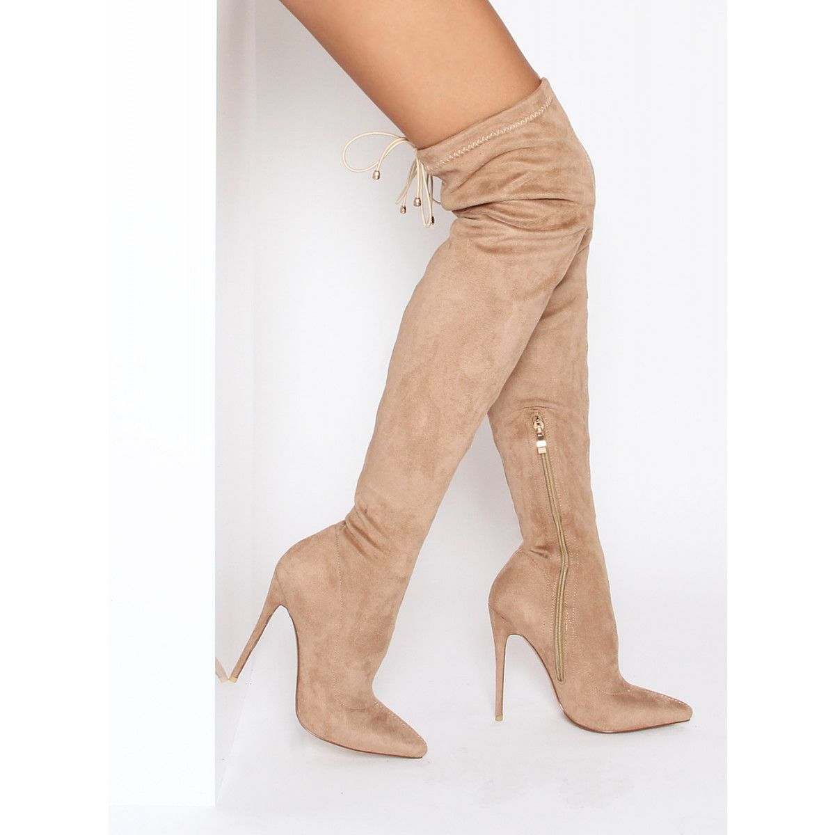 Cairo Nude Suede Pointed Toe Thigh High Boots : Simmi Shoes | Thứ ...