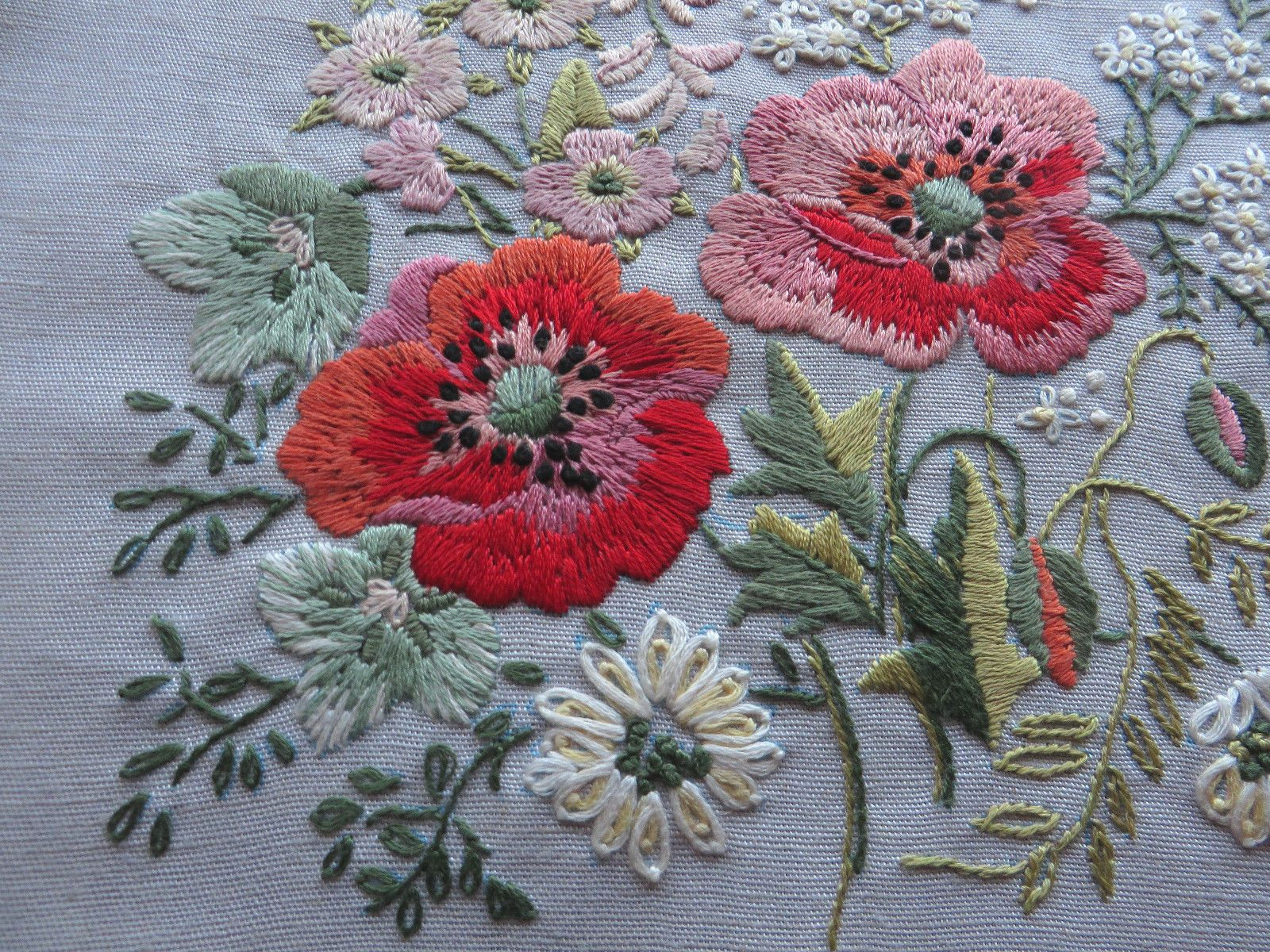 Lovely Pair Vintage Hand Embroidered Pictures Panel Wild Flower Roses Poppies 5 • $39.86 ...