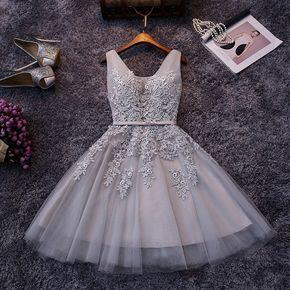 In Stock Elegant Tulle V-neck Lace Appliques Party Dress Cheap Short Prom Dresses 2019 Under $ 50 For Teenagers graduation Dresses