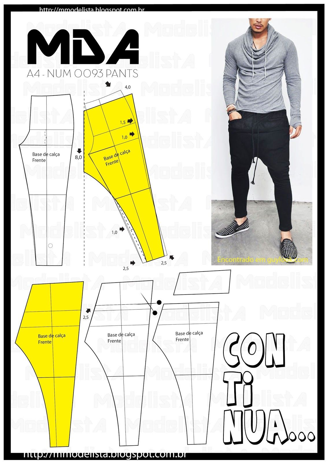 A4 NUM 0093 PANTS | Nähen, Herrenschnitte und Nähideen