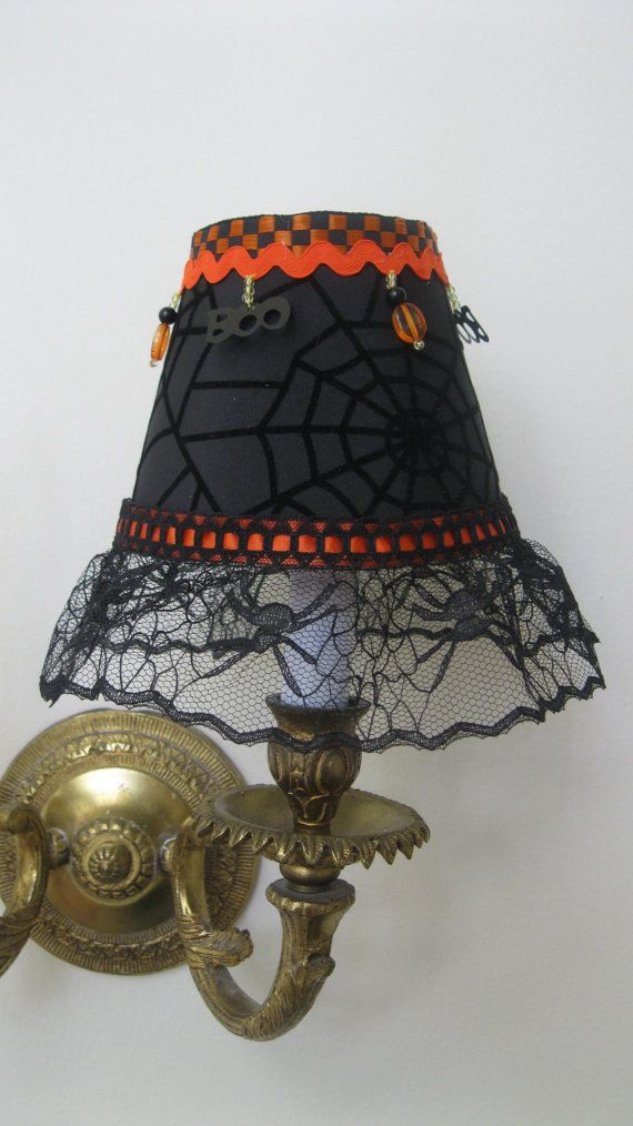 Halloween chandelier lamp shade in black and orange chandelier halloween chandelier lamp shade in black and orange aloadofball Image collections