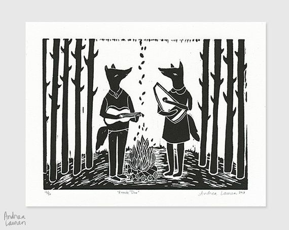 Fireside Duo  ORIGINAL  Handcarved handpulled by papersparrow