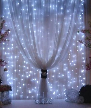 Organza And Led Fairy Lights Organza Draping Event Decor