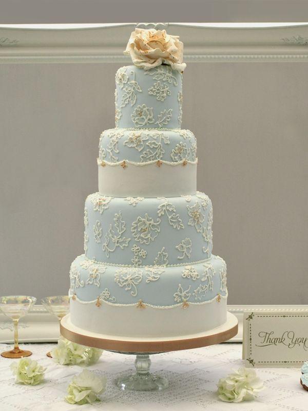 Blue And Gold Wedding Cake Jpg 600 800 Pixels Light Blue Wedding