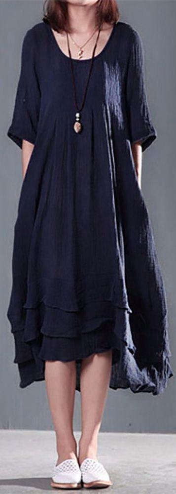 US$21.49 Women Short Sleeve Solid Color Long Maxi Vintage Cotton Dress