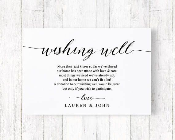 Wedding Invitation Wishing Well Wording: Wedding Wishing Well Card, Enclosure Card, Wishing Well