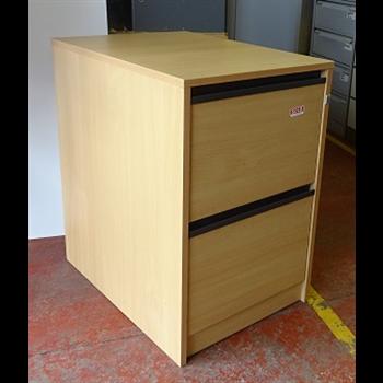 Wooden Beech 2 Drawer Filing Cabinet