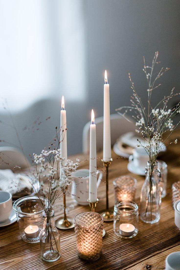 Postre de Navidad: parfait simple con jarabe de arce y nueces tostadas Decoraciones de mesa