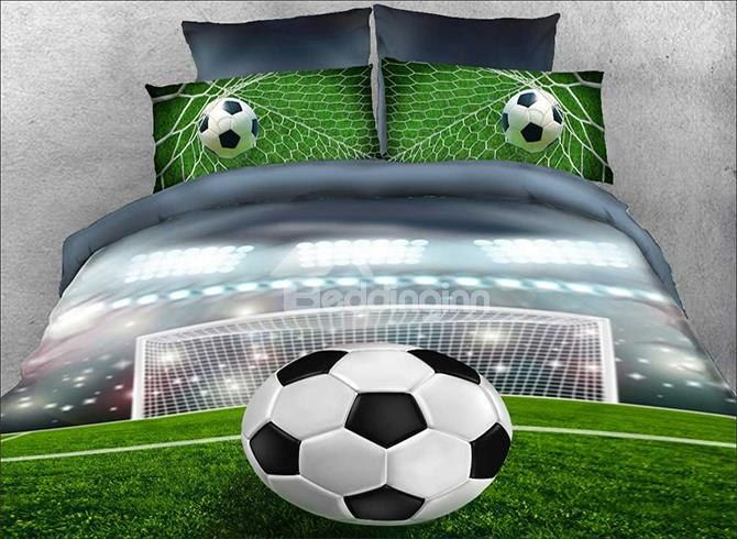 Soccer Ball In Front Of Goal Printed 4 Piece Bedding Sets Duvet Covers