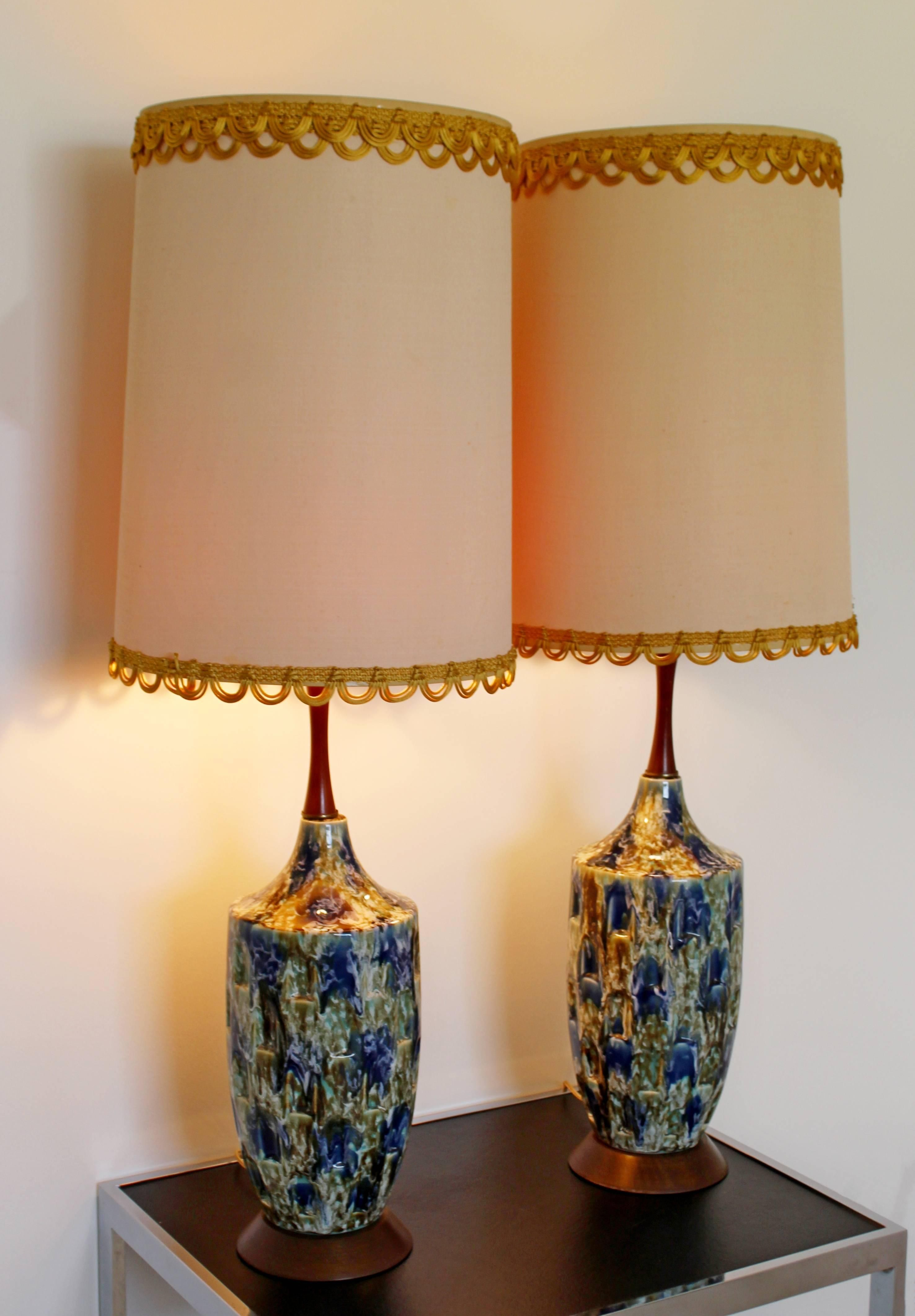 1960s Mid Century Modern Blue Drip Lava Glaze Ceramic Table Lamps A Pair Chairish Table Lamp Lamp Mid Century Lamp