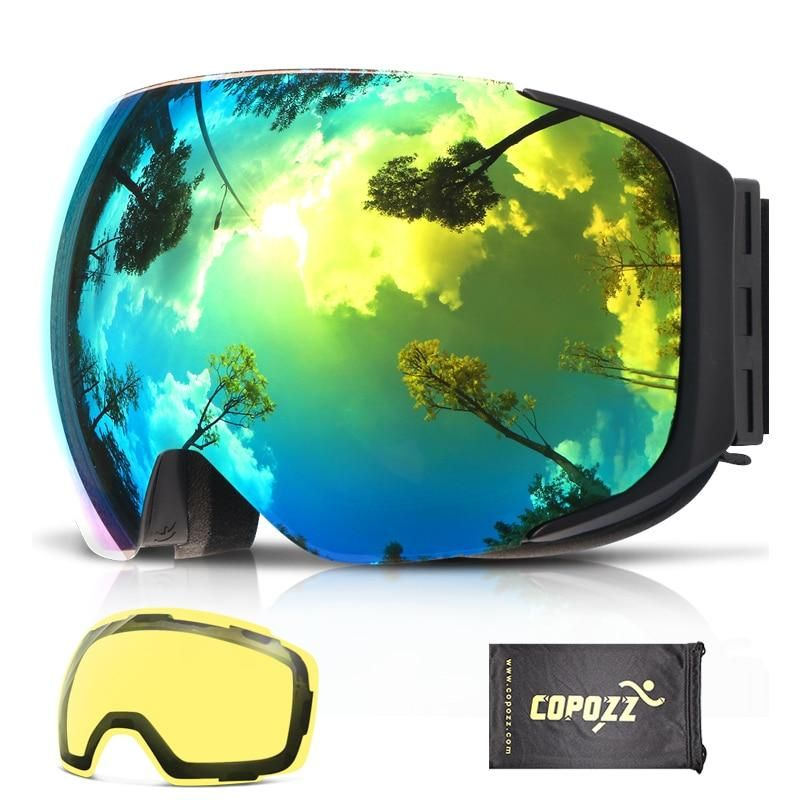 02c34eca3bba COPOZZ Magnetic Ski Goggles with Interchangeable Yellow Lens Anti-fog and  UV400 Protection Snowboard Goggles for Adult Men Women