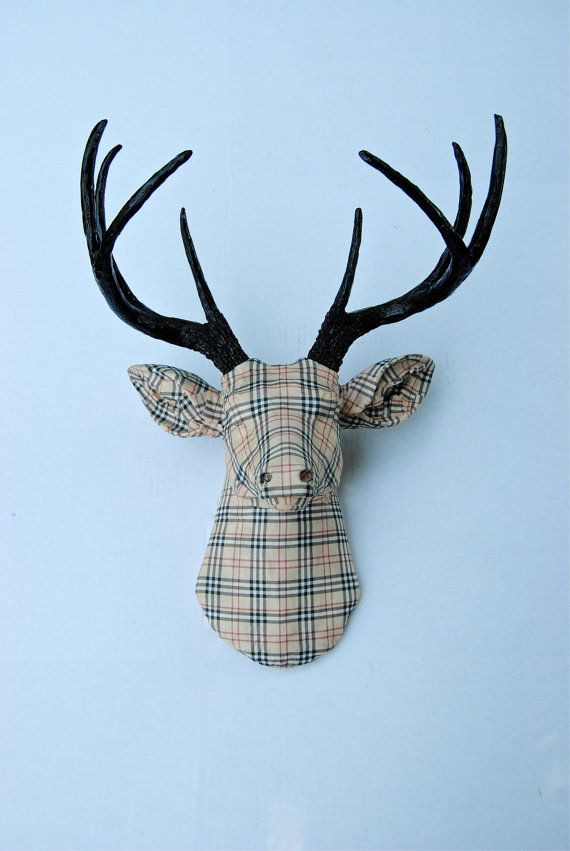 Deer Head Wall Mount  Fabric beige and black plaid  by NearAndDeer, $194.99