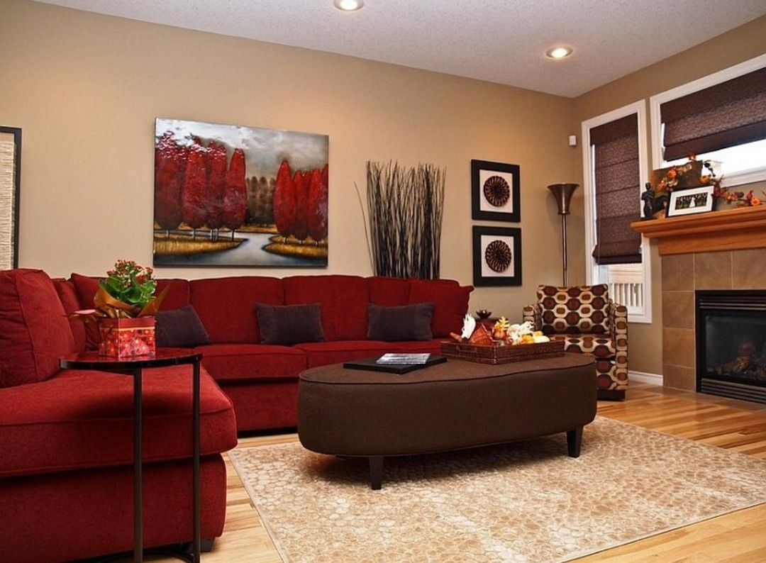Red and gold living room  Red couch living room, Red sofa living