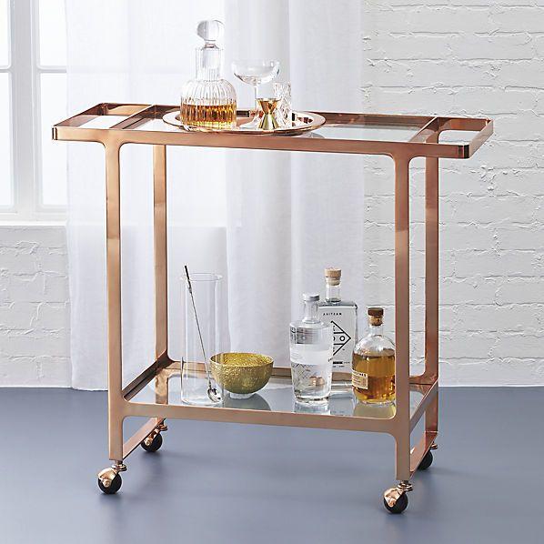 Dolce Vita Rose Gold Bar Cart Cb2 299 Overall Dimensionswidth