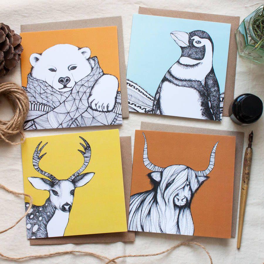 Christmas Animal Blank Greetings Cards
