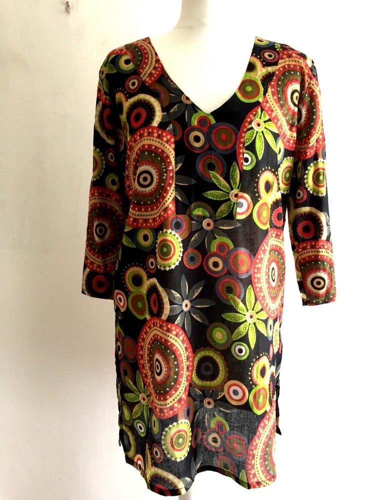 515932d7f21 BLACK printed Cotton Hippy Boho Ethnic Long sleeve TUNIC TOP blouse M L XL  XXL #Unbranded