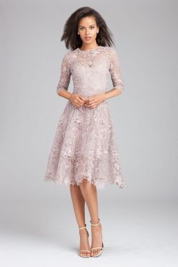 7969d2ed19277 3/4 Sleeve Lace and Tulle Fit and Flare Dress in 2019 | Sam Bar ...